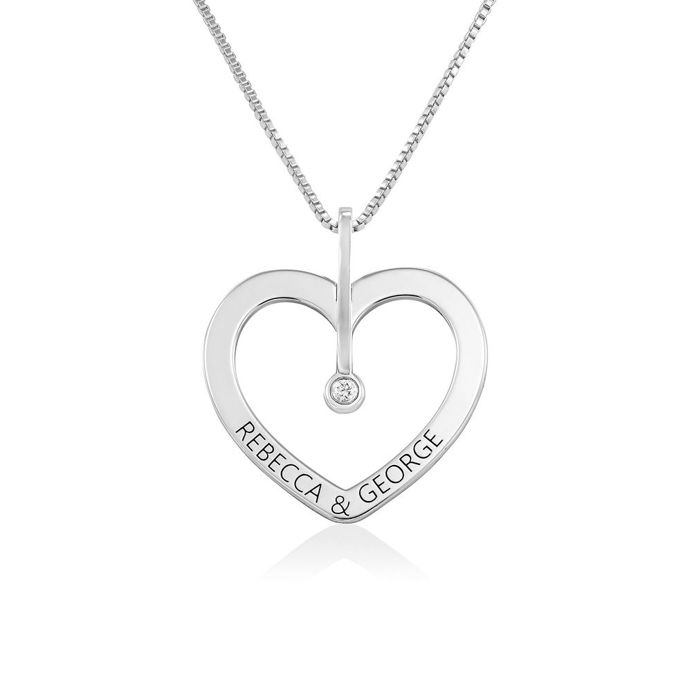 Personalised Love Necklace with Diamond in Sterling Silver