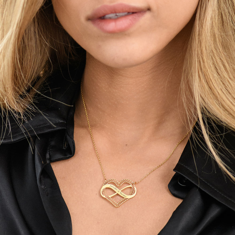 Engraved Heart Infinity Necklace in Gold Plating - 4