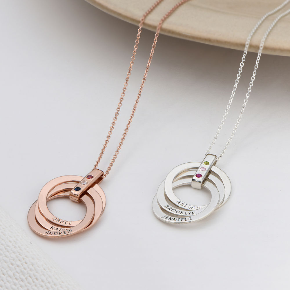 Russian Ring Necklace with Birthstones in Rose Gold Plating - 3