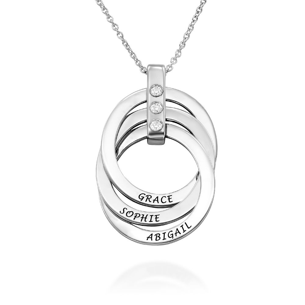 Russian Ring Necklace with Diamonds in Sterling Silver