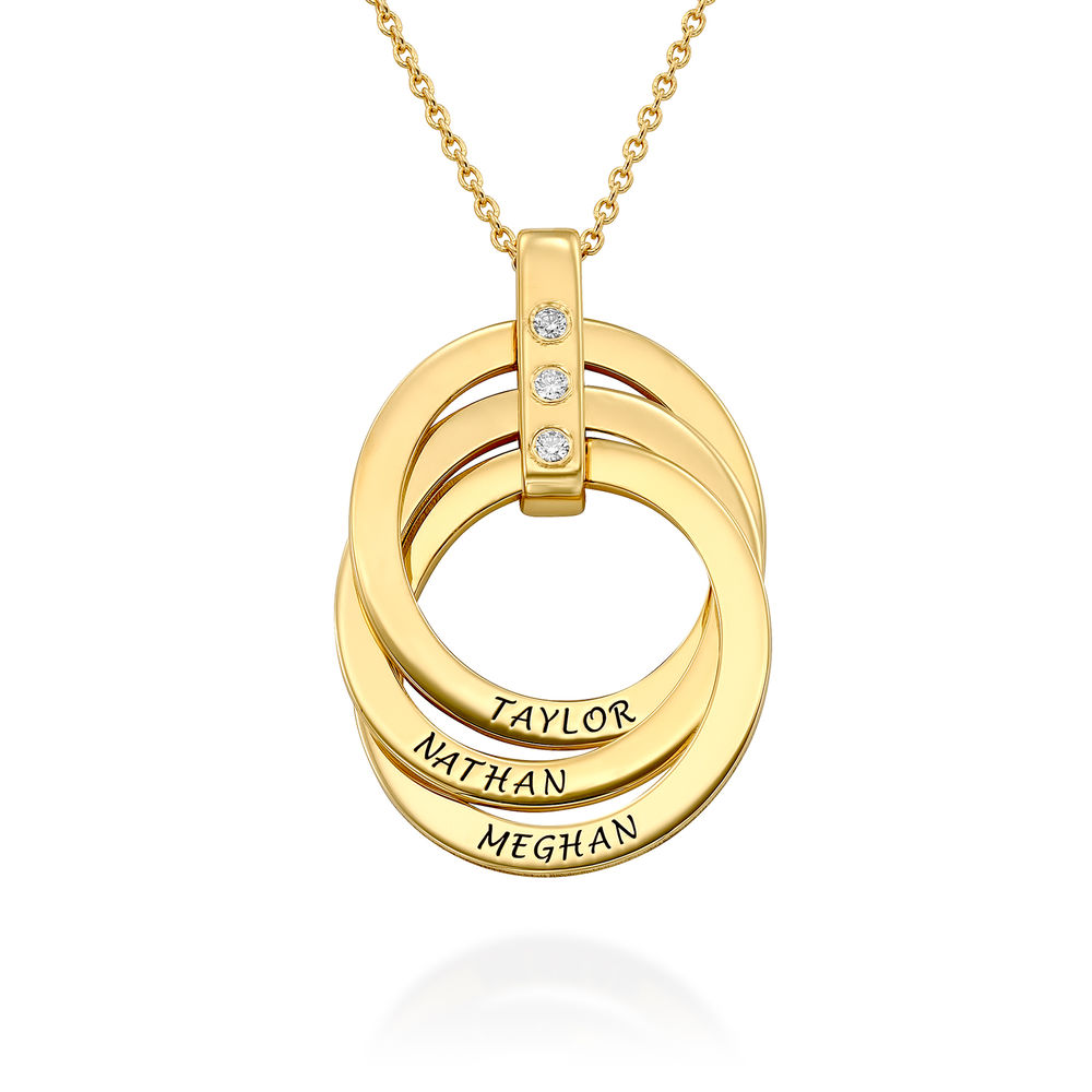 Russian Ring Necklace with Diamonds in Gold Plating