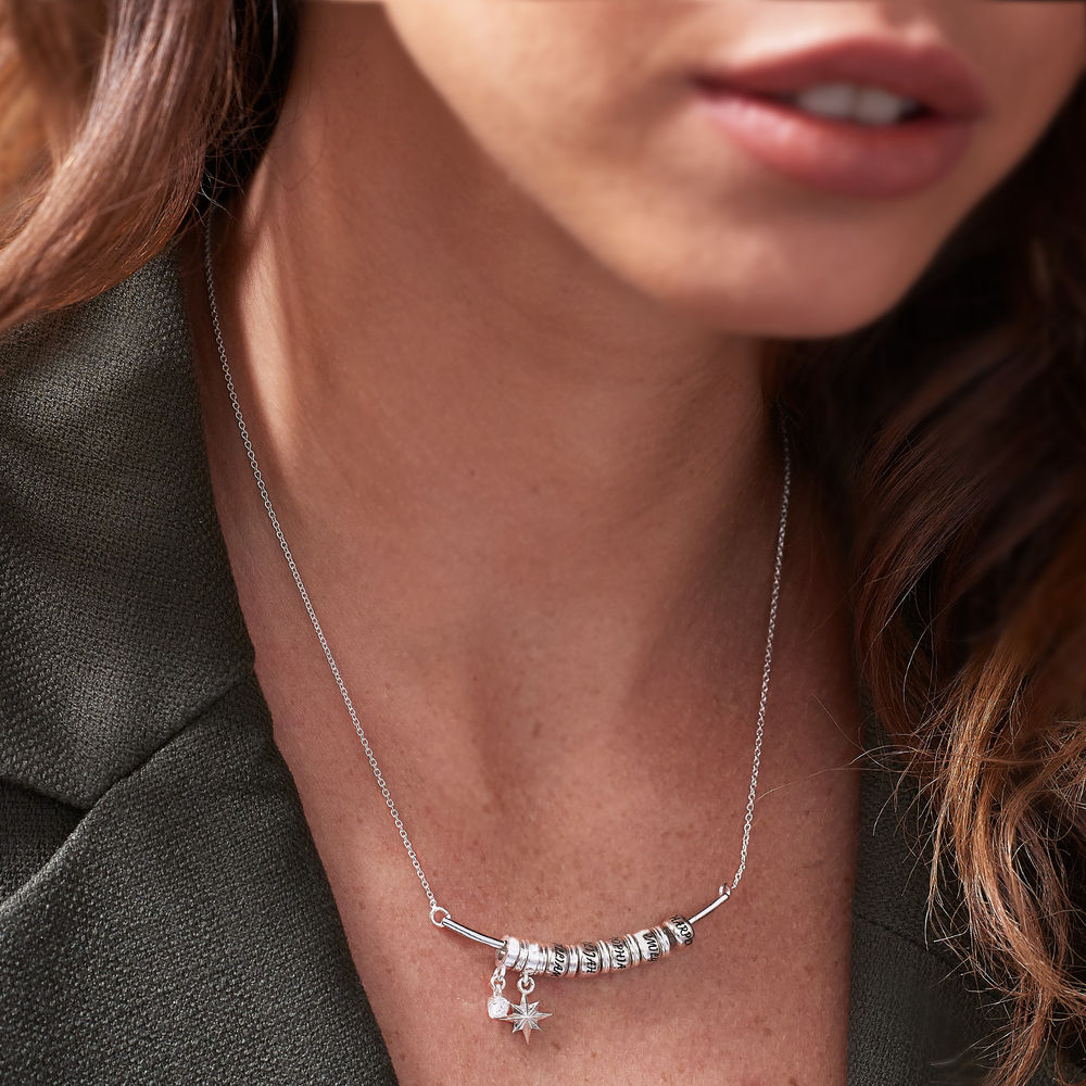 North Star Smile Bar Necklace in Sterling Silver - 3