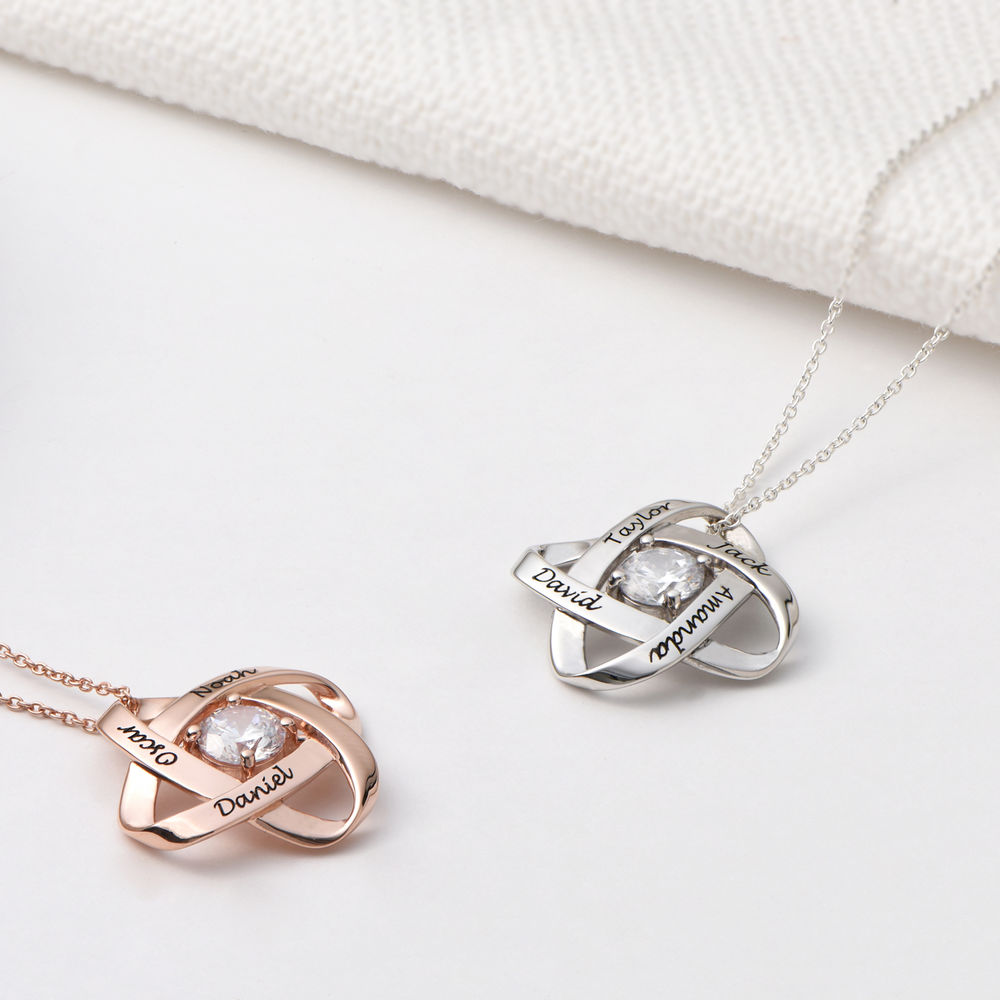Engraved Eternal Necklace with Cubic Zirconia in Sterling Silver - 1