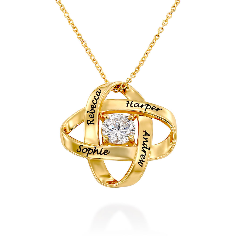 Engraved Eternal Necklace with Cubic Zirconia in Gold Plating