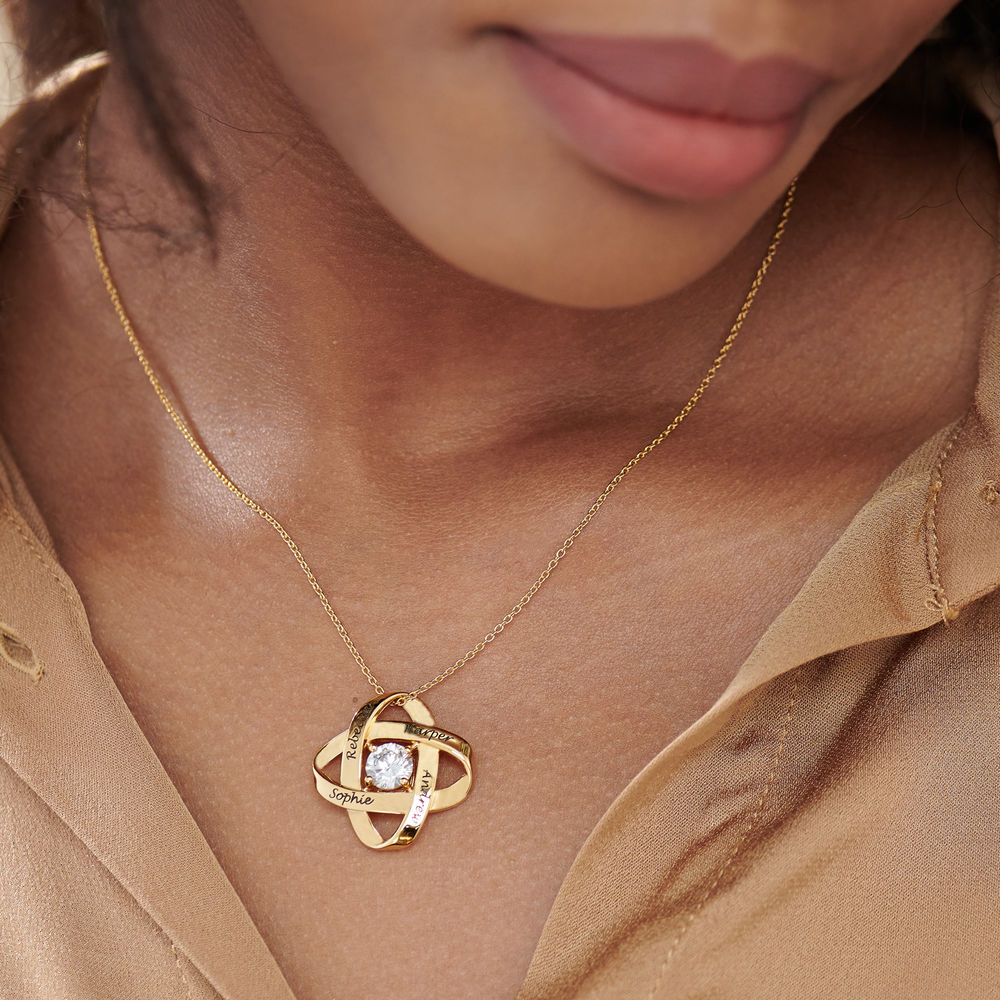 Engraved Eternal Necklace with Cubic Zirconia in Gold Plating - 3