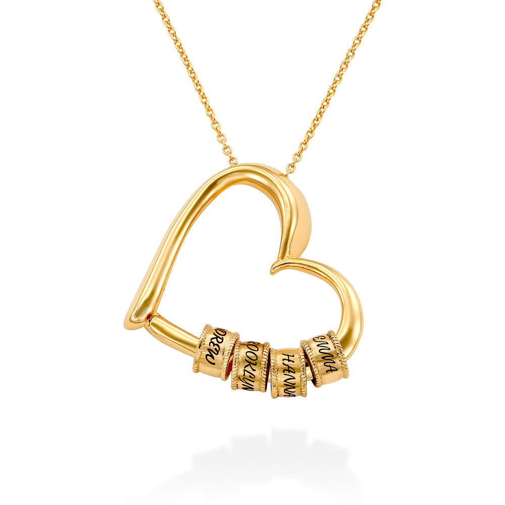 Charming Heart Necklace with Engraved Beads in Gold Plating