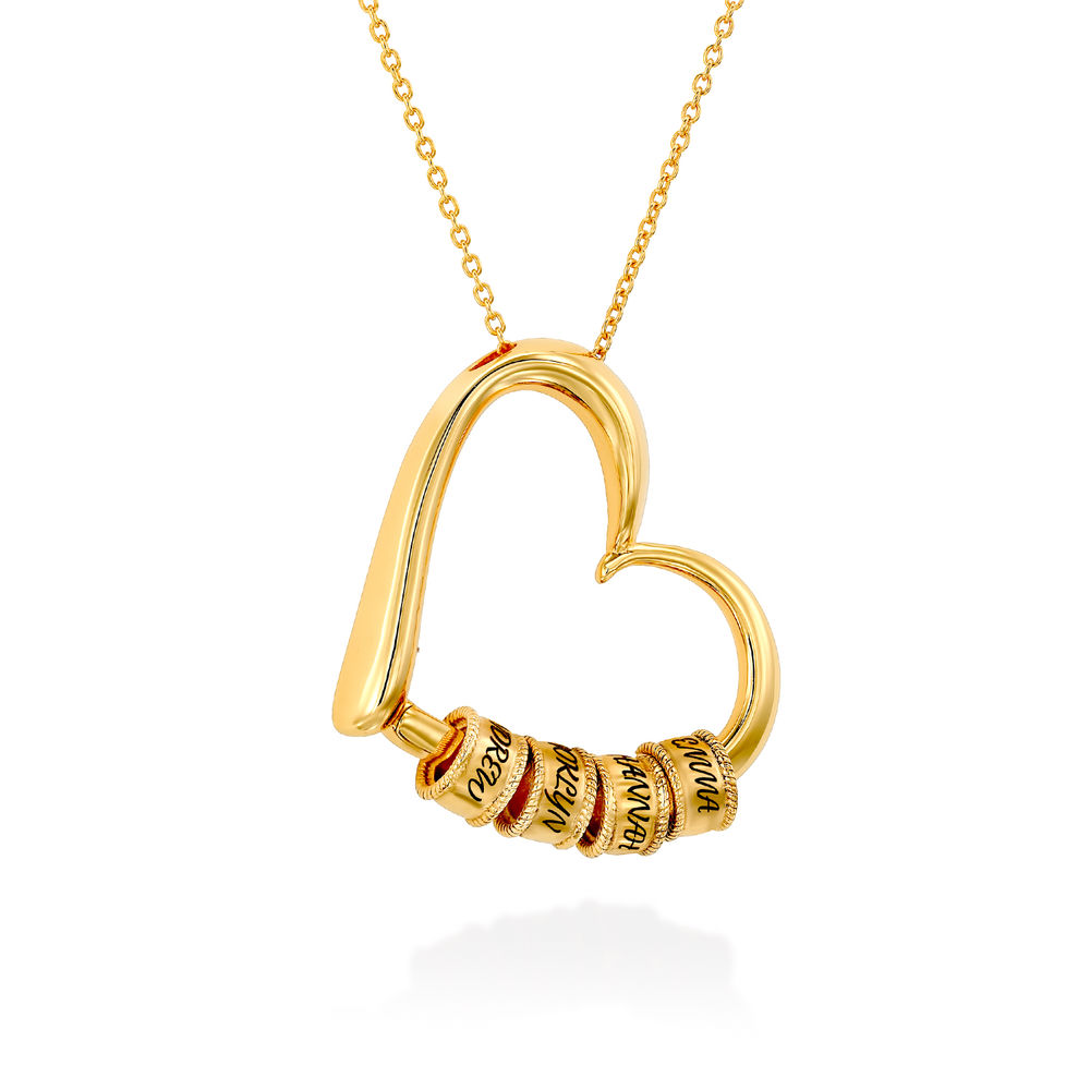 Charming Heart Necklace with Engraved Beads in Gold Plating - 2