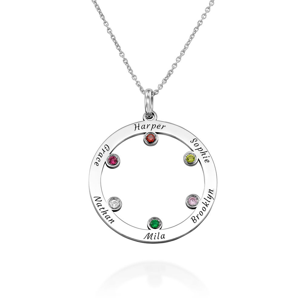 The Family Circle Necklace with Birthstones in Sterling Silver