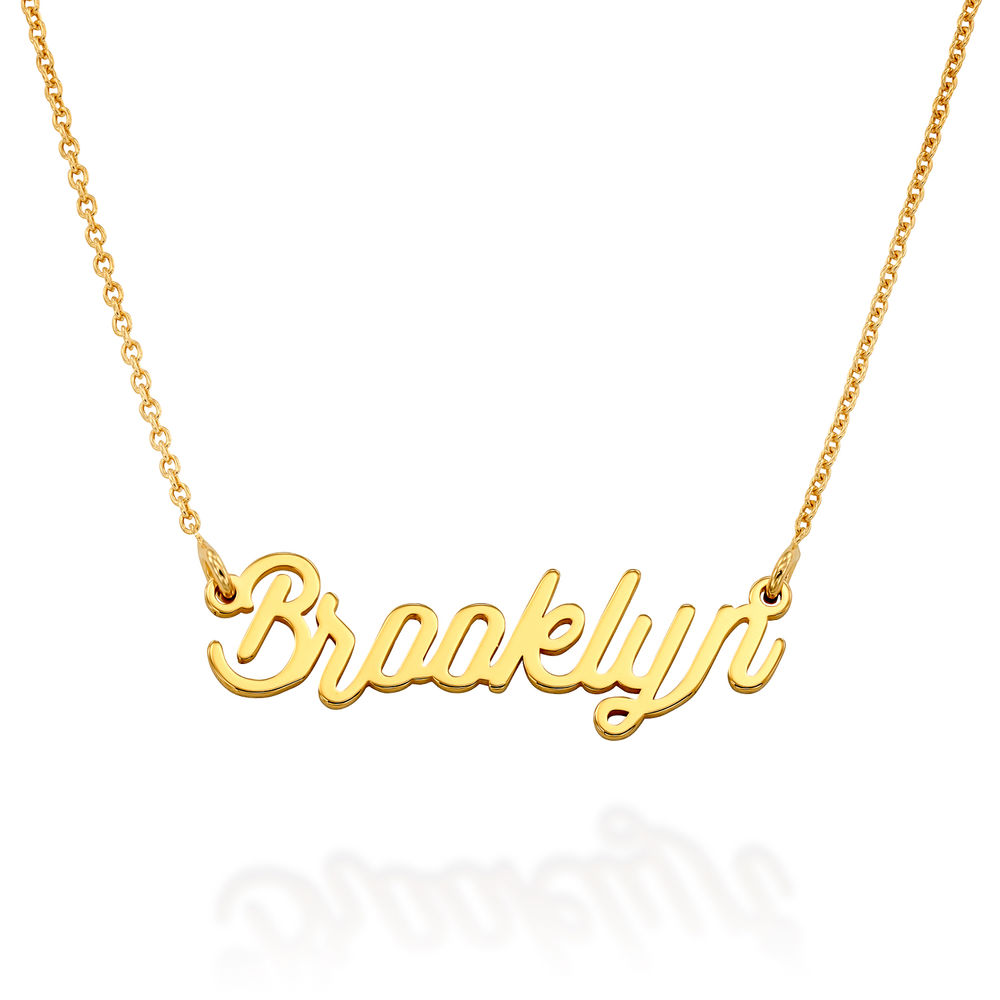 Cable Chain Script Name Necklace in Gold Vermeil