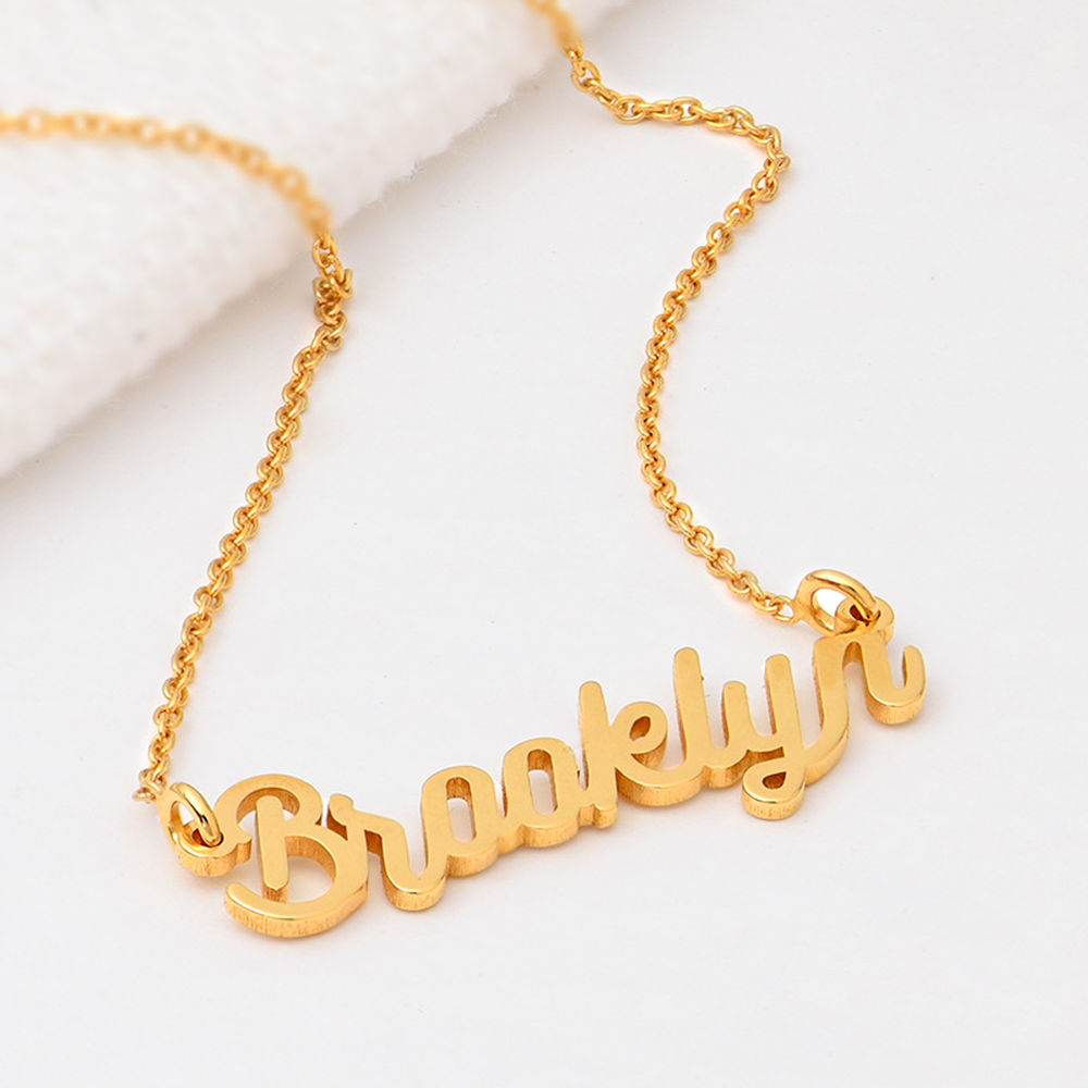 Cable Chain Script Name Necklace in Gold Vermeil - 1