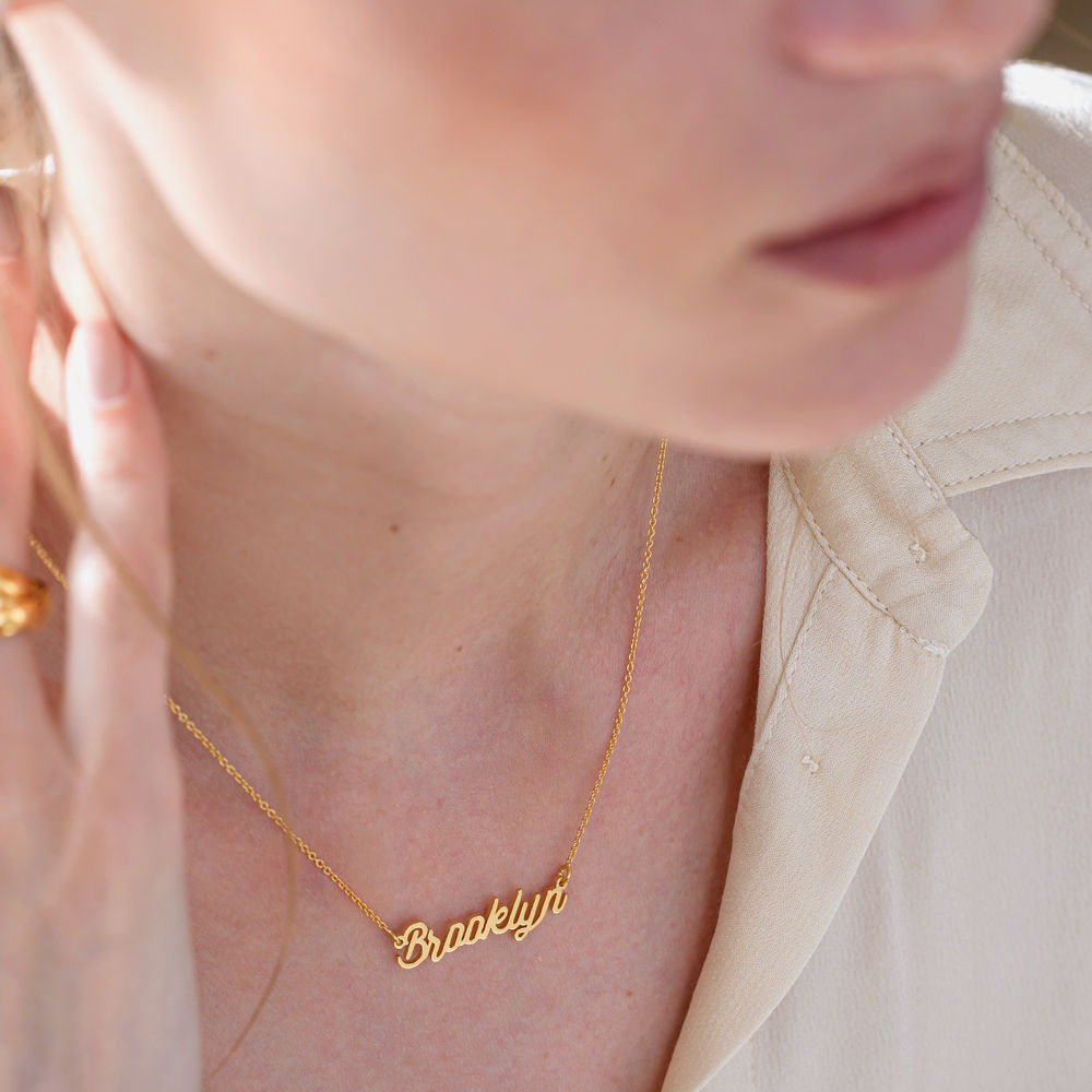 Cable Chain Script Name Necklace in Gold Vermeil - 2