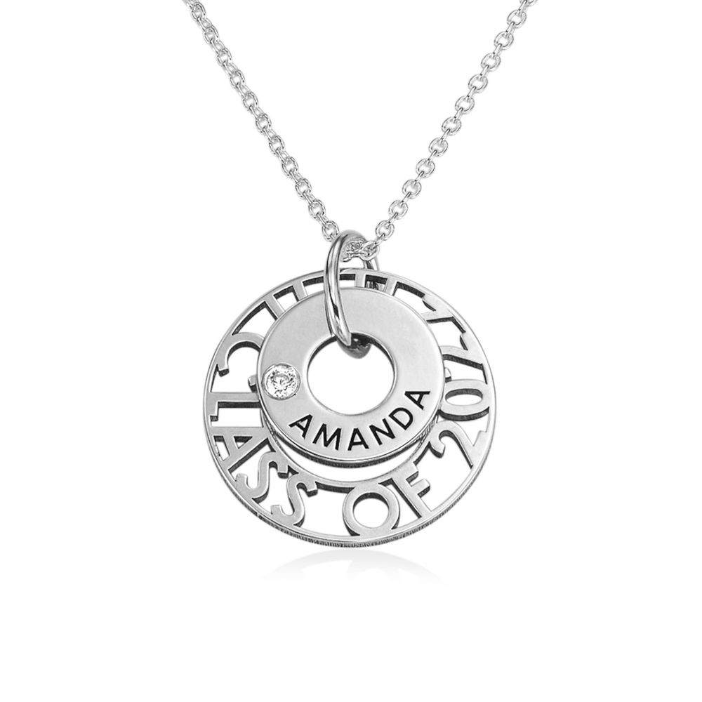 Custom Graduation Pendant Necklace with Cubic Zirconia in Sterling Silver
