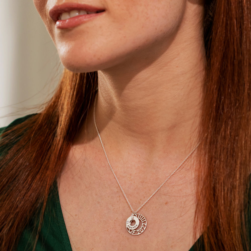 Custom Graduation Pendant Necklace with Cubic Zirconia in Sterling Silver - 4
