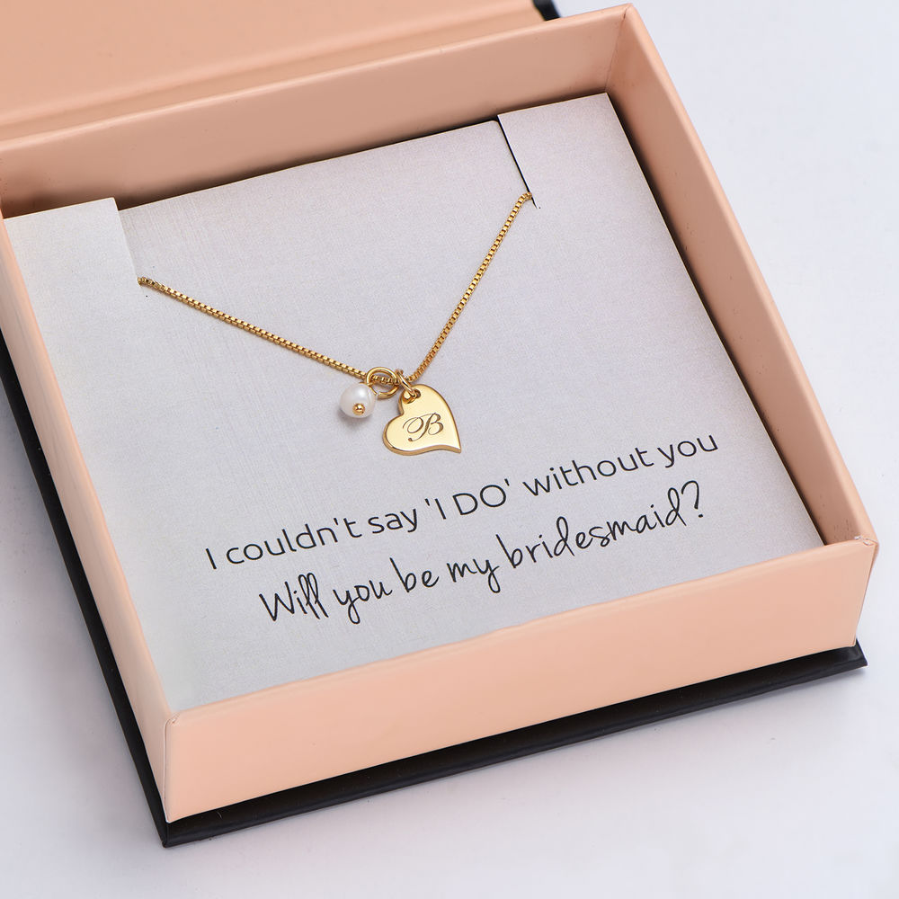 Always The Bridesmaid - Initial Pearl Necklace in 18K Gold Plating