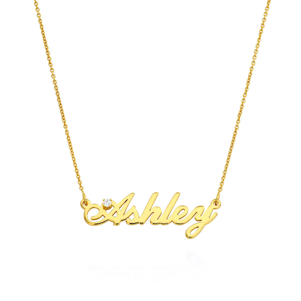 Small Classic Name Necklace with 5 Points Carats Diamond  in Gold Plated