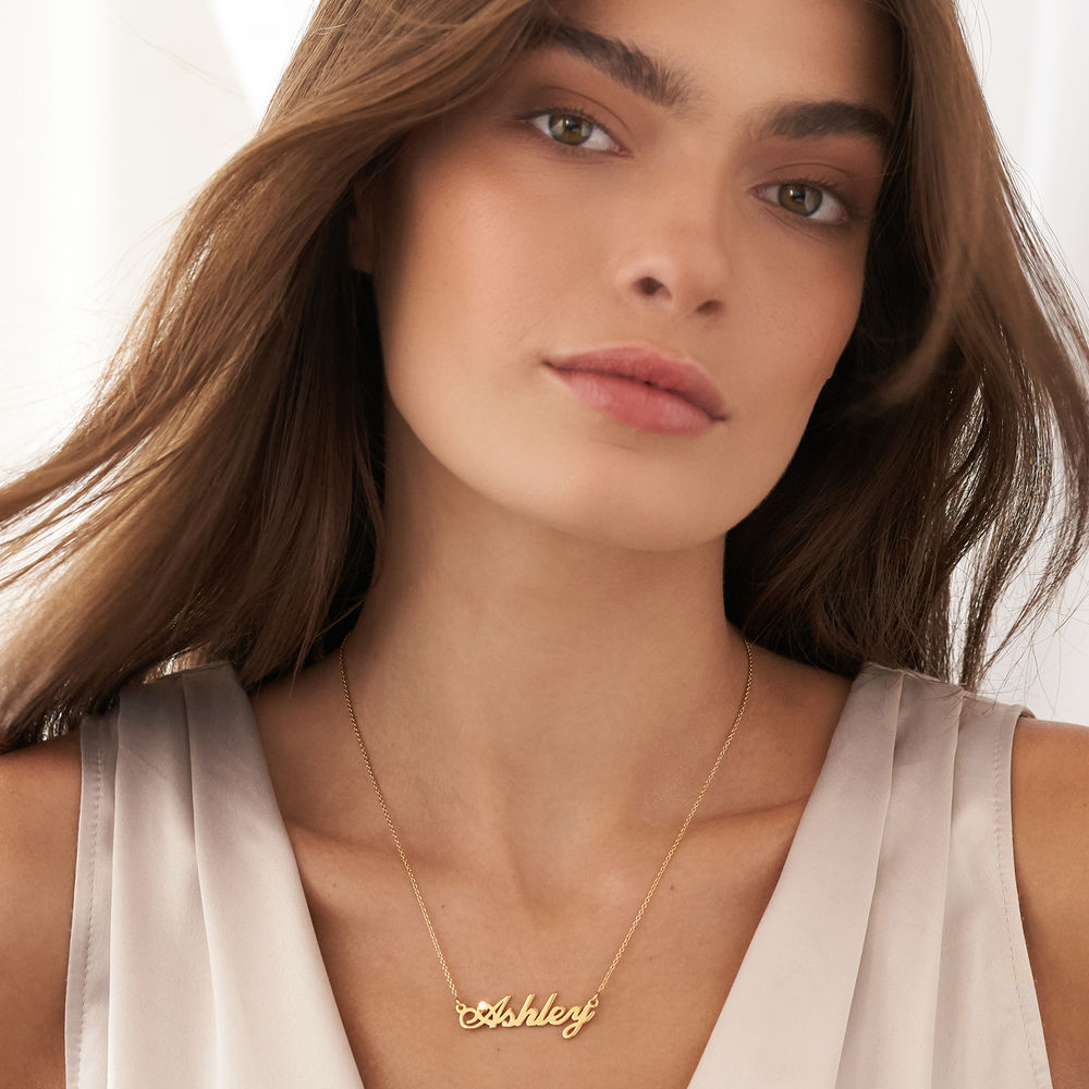Small Classic Name Necklace with 5 Points Carats Diamond  in Gold Plated - 3
