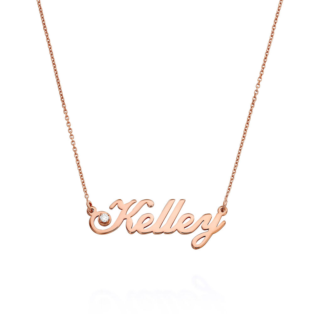 Small Classic Name Necklace with 5 Points Carats Diamond  in Rose Gold Plating