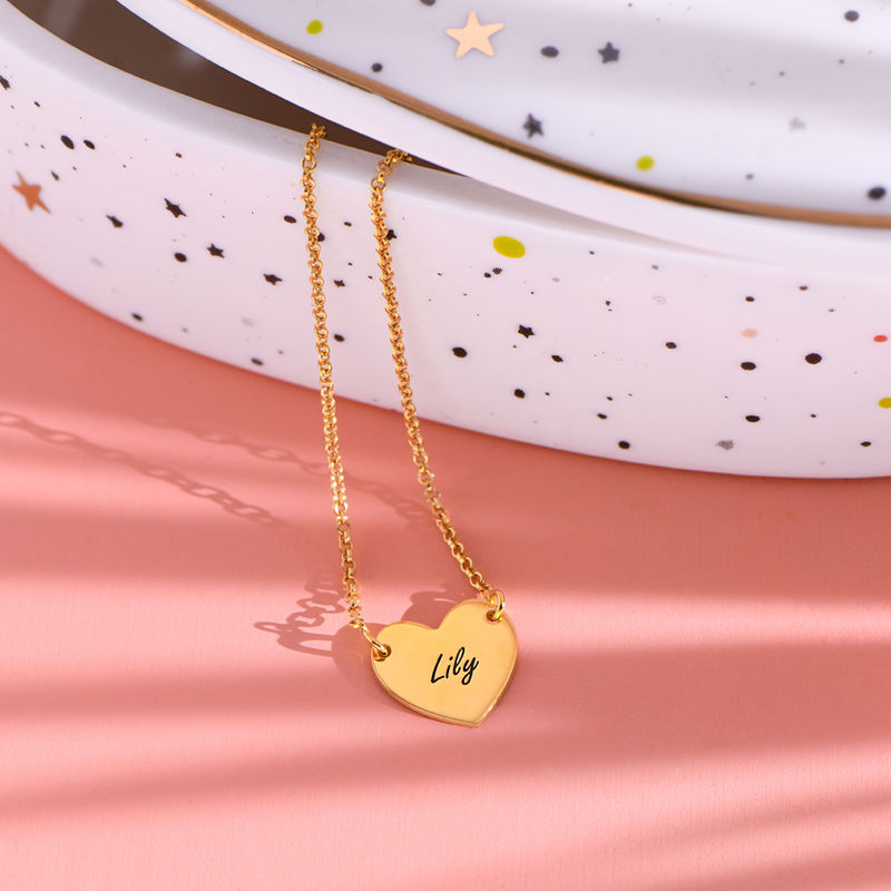 18ct Gold Plated Heart Necklace with Engraving - 1