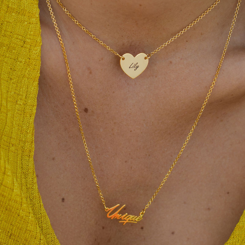 18ct Gold Plated Heart Necklace with Engraving - 3