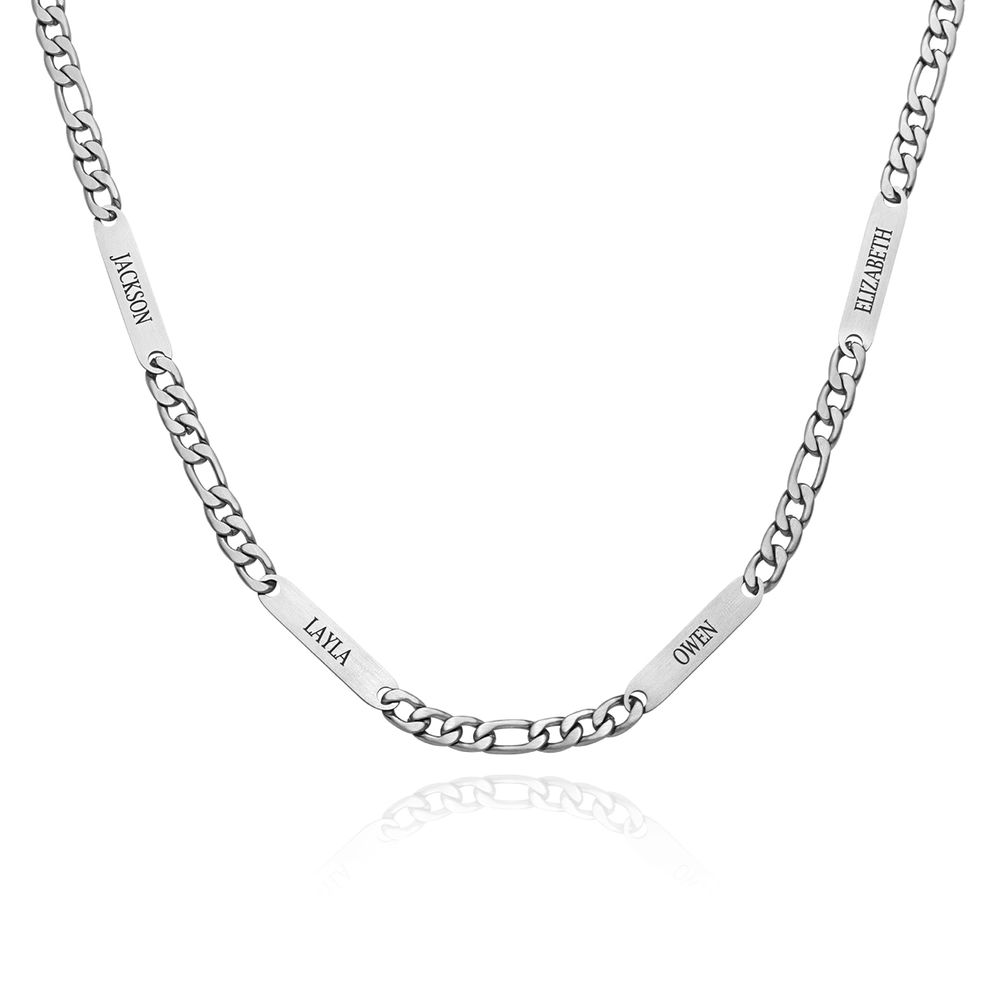 Multiple Name Necklace for Men in Matte Stainless Steel