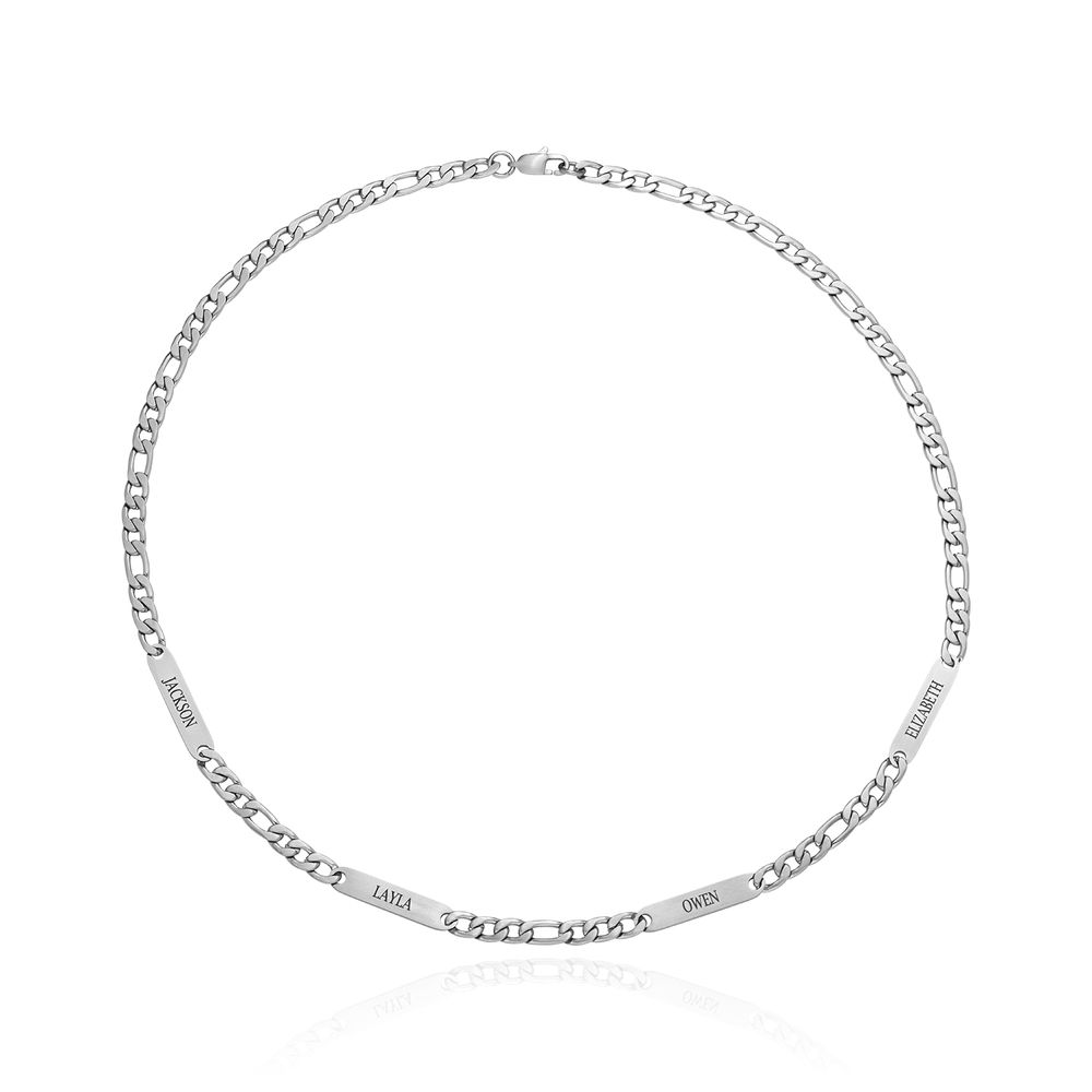 Multiple Name Necklace for Men in Matte Stainless Steel - 1