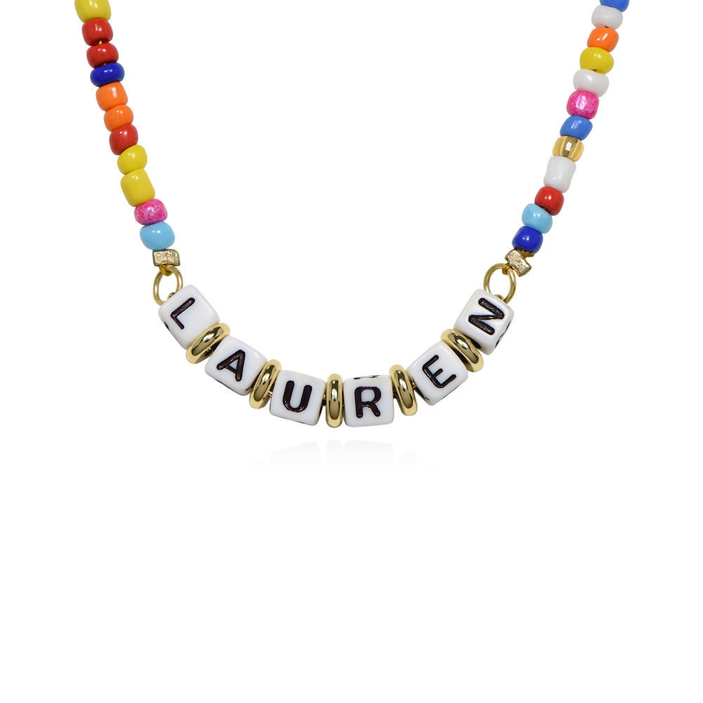 Rainbow Remix Beaded Name Necklace in Gold Plating