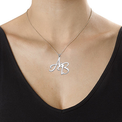 Two Initial Necklace in Sterling Silver - 2