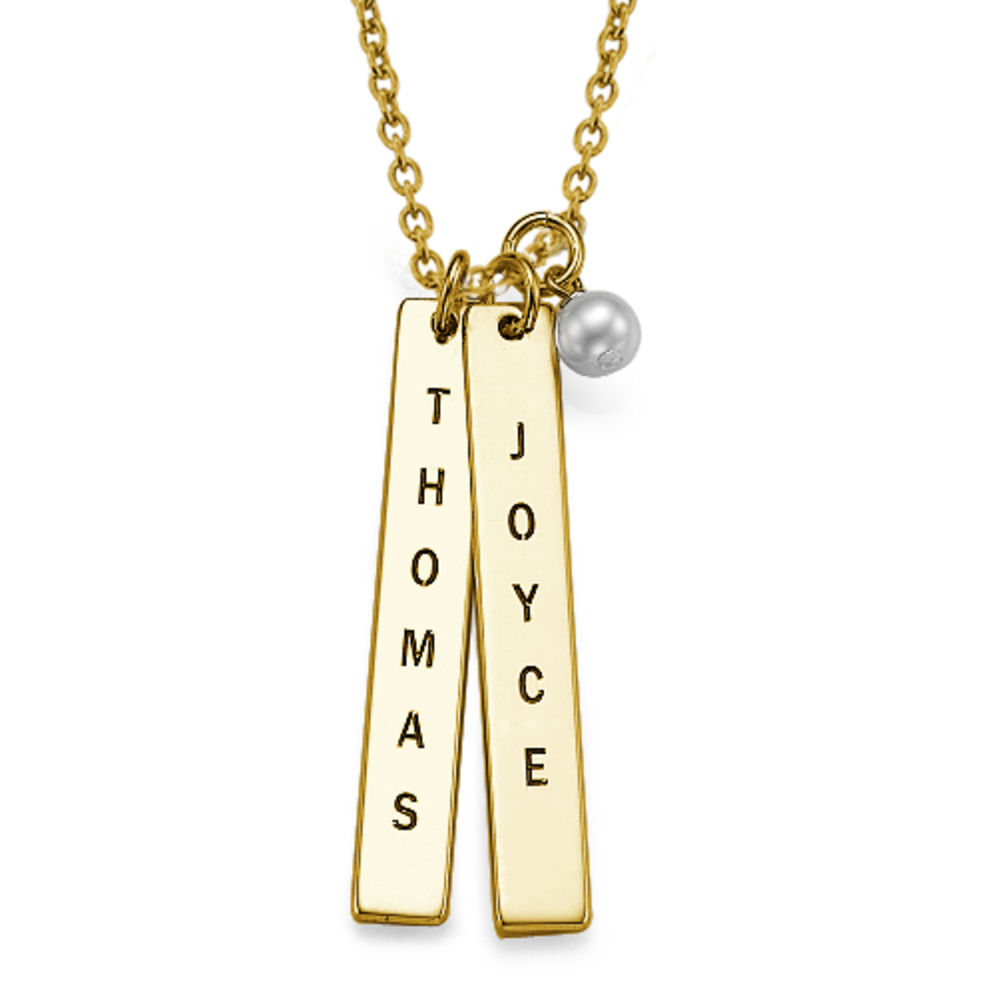 Gold Plating Customised Name Tag Necklace