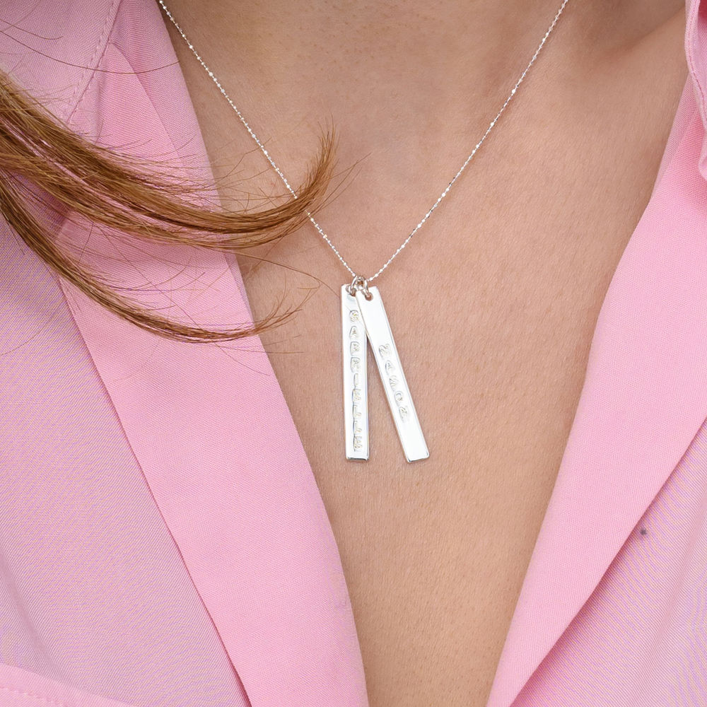 Engraved Vertical Bar Necklace in 10ct White Gold - 3