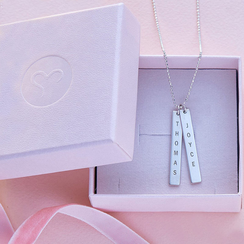 Engraved Vertical Bar Necklace in 10ct White Gold - 4