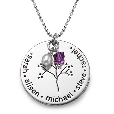 Silver Personalised Family Tree Necklace - 2