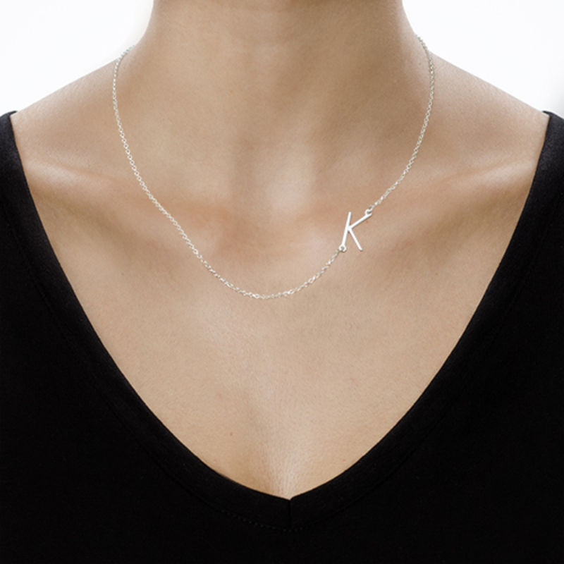 Silver Side Initial Necklace - 3