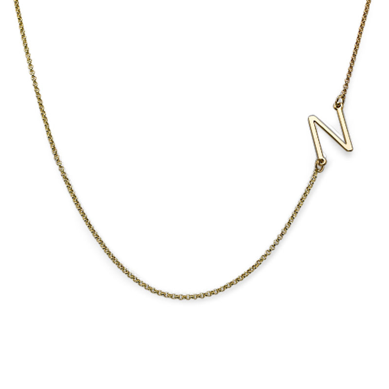 Two Sideways Initial Necklaces in 18ct Gold Plating - 1