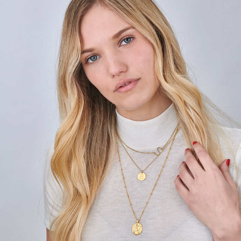 18ct Gold Plated Sideways Initial Necklace - 1 - 2 - 3 - 4