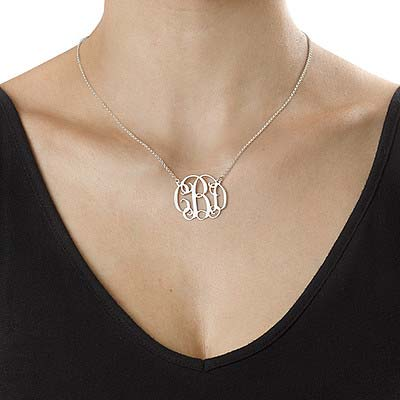 Silver Celebrity Style Monogram Necklace - 1
