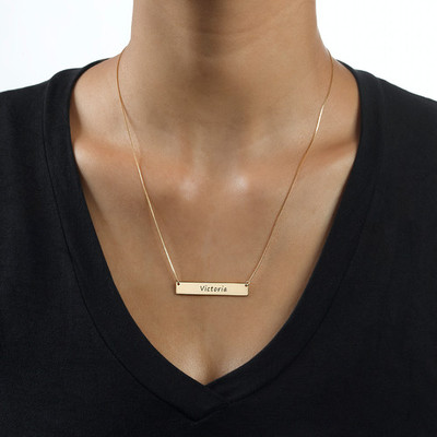 Engraved Bar Necklace in 10ct Gold - 1