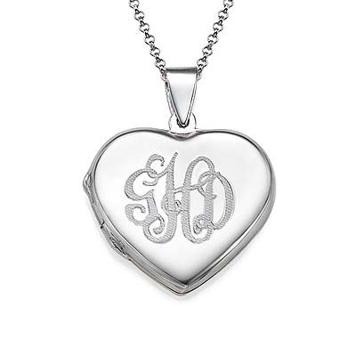 Sterling Silver Monogrammed Heart Locket Necklace