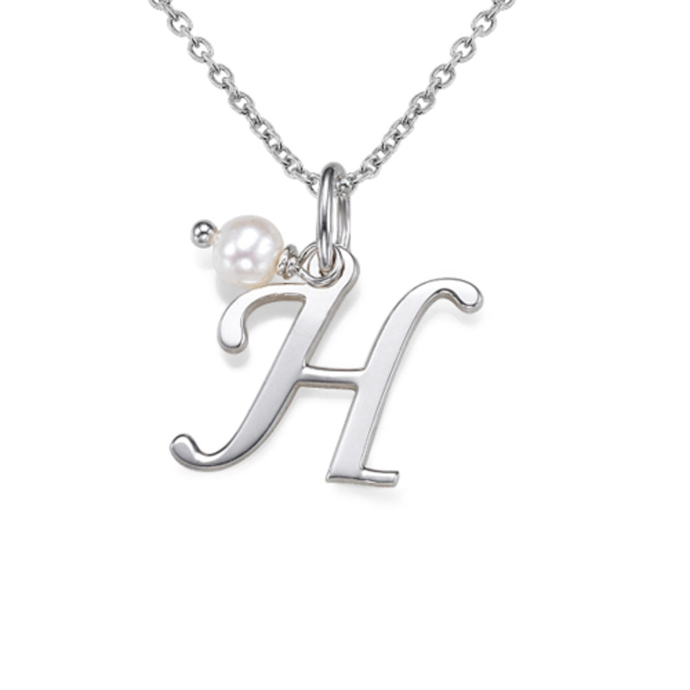 Sterling Silver Initial Necklace with Birthstone