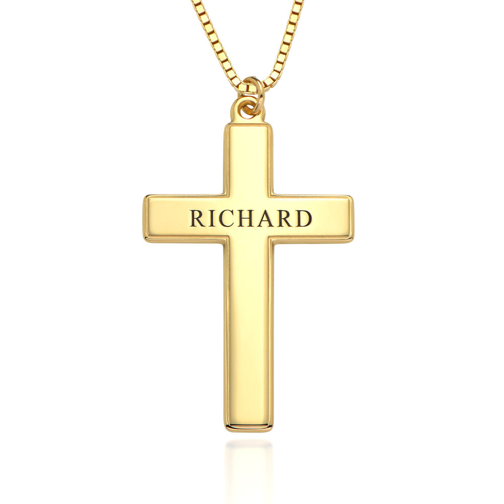 Men's Engraved Cross Necklace in 18ct Gold Plating