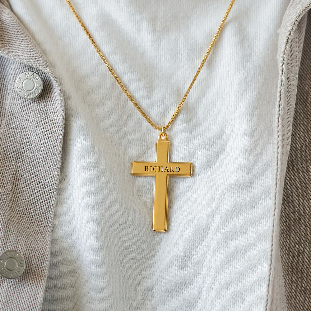 Men's Engraved Cross Necklace in 18ct Gold Plating - 2