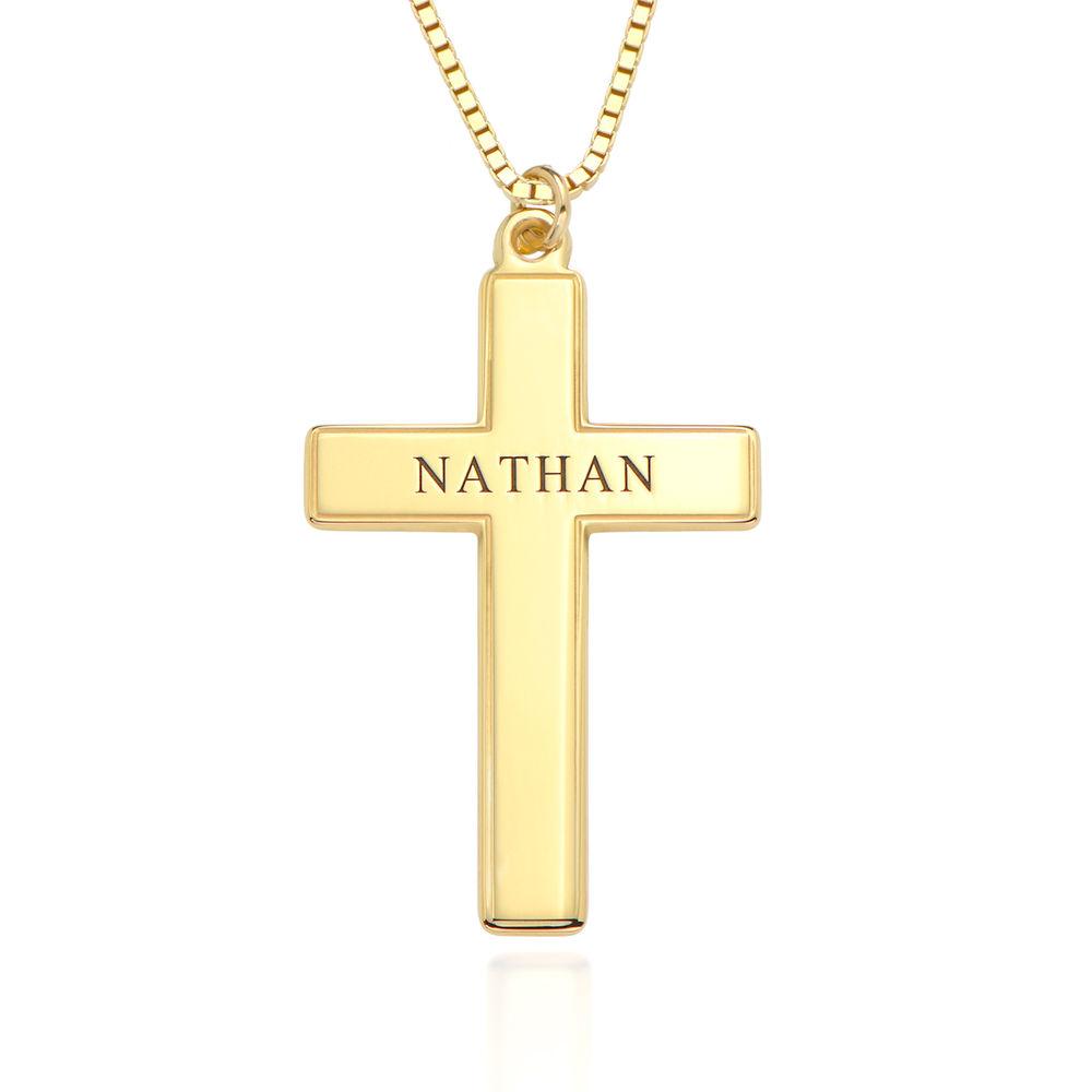 Men's Engraved Cross Necklace in 18ct Gold Vermeil
