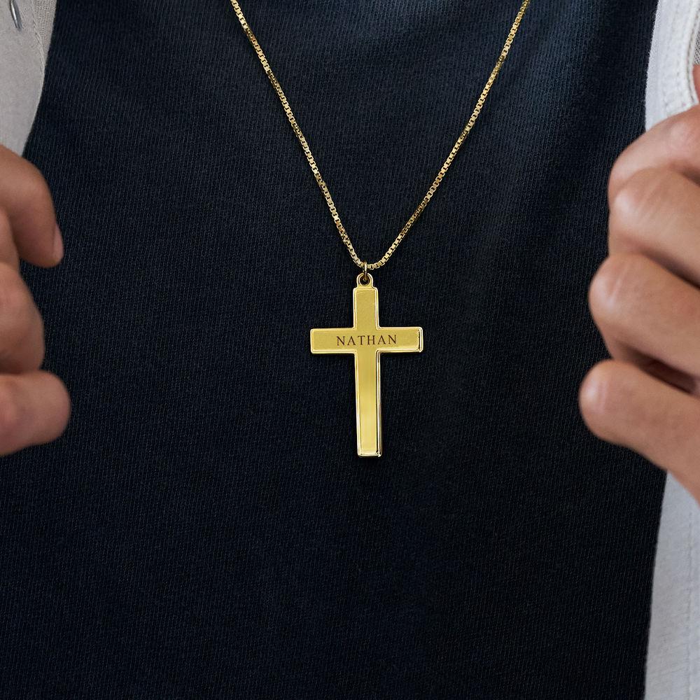 Men's Engraved Cross Necklace in 18ct Gold Vermeil - 2