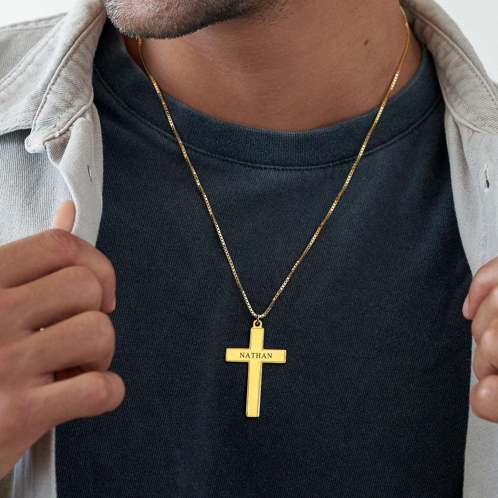 Men's Engraved Cross Necklace in 18ct Gold Vermeil - 3