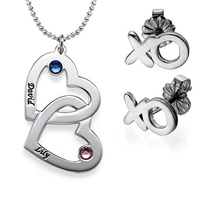 Hearts Necklace & XO Stud Set