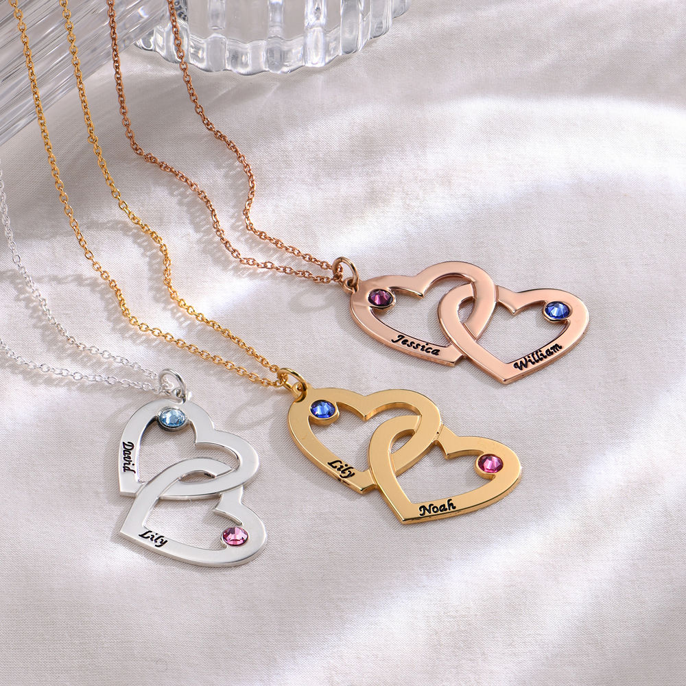 Engraved Heart Necklace with Birthstones - 1