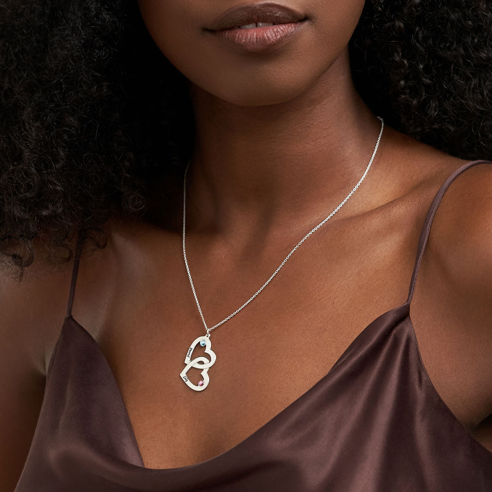 Engraved Heart Necklace with Birthstones - 2