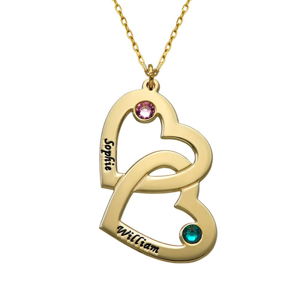 Heart in Heart Necklace with Birthstones - 10ct Gold