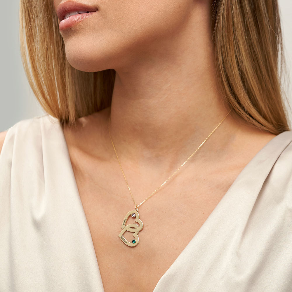 Heart in Heart Necklace with Birthstones - 10ct Gold - 2