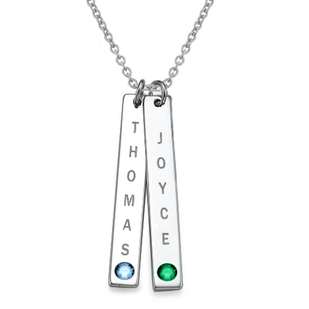 Vertical Sterling Silver Bar Necklace with Birthstone Crystal