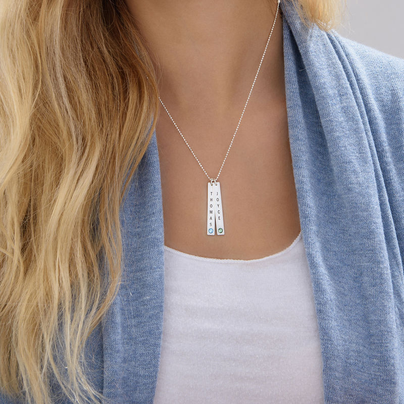 Vertical Sterling Silver Bar Necklace with Birthstone Crystal - 5